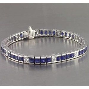 Jewelry - Blue Sapphire Diamond Tennis Bracelet Princess Cut